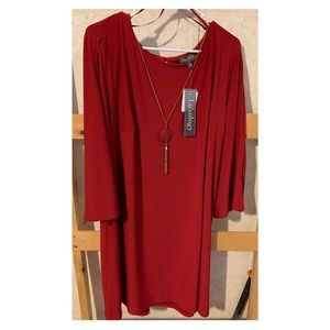 Never worn red dress with matching necklace.